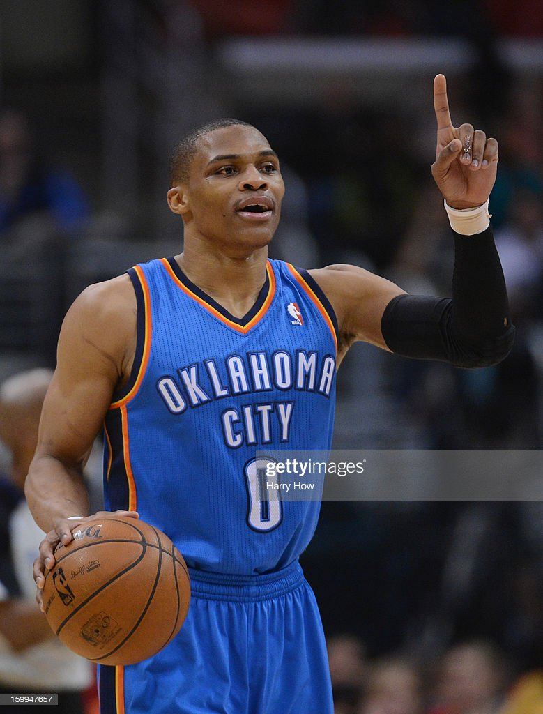 Russell Westbrook #0 of the Oklahoma City Thunder reacts to his bench during the game against the Los Angeles Clippers at Staples Center on January 22, 2013 in Los Angeles, California.