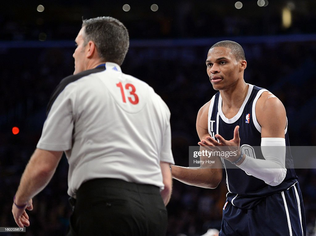 Russell Westbrook #0 of the Oklahoma City Thunder reacts to referee Monty McCutchen #13 after his technical foul during a 106-95 Laker win at Staples Center on January 27, 2013 in Los Angeles, California.
