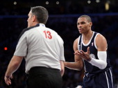 Russell Westbrook of the Oklahoma City Thunder reacts to referee Monty McCutchen after his technical foul during a 10695 Laker win at Staples Center...