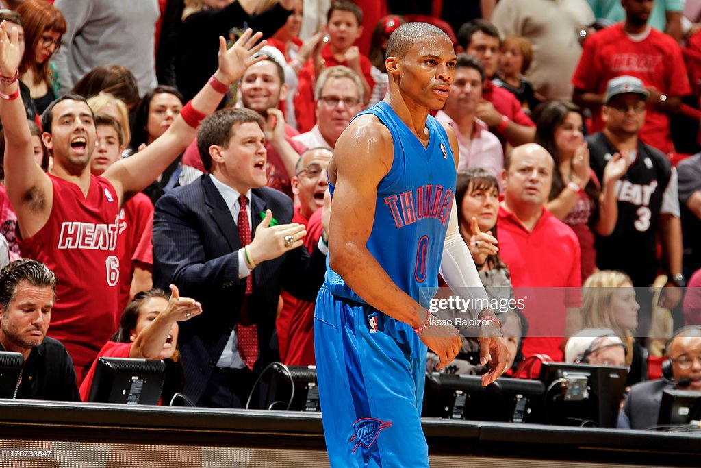 <a gi-track='captionPersonalityLinkClicked' href=/galleries/search?phrase=Russell+Westbrook&family=editorial&specificpeople=4044231 ng-click='$event.stopPropagation()'>Russell Westbrook</a> #0 of the Oklahoma City Thunder reacts while playing the Miami Heat during a Christmas Day game on December 25, 2012 at American Airlines Arena in Miami, Florida.