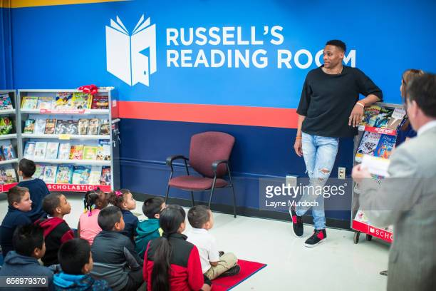 Russell Westbrook of the Oklahoma City Thunder reads to children on March 21 2017 at Adams Elementary in Oklahoma City Oklahoma The literacy...
