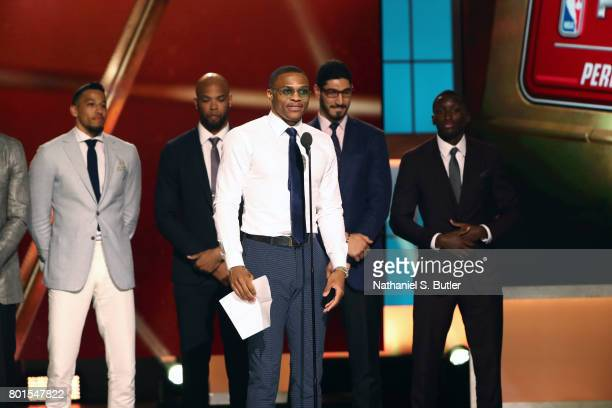 Russell Westbrook of the Oklahoma City Thunder receives the Kia NBA Most Valuable Player Award at the NBA Awards Show on June 26 2017 at Basketball...