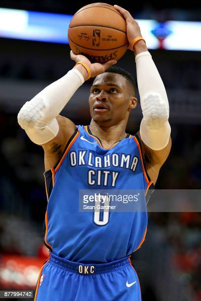 Russell Westbrook of the Oklahoma City Thunder shoots a free throw during a NBA game against the New Orleans Pelicans at the Smoothie King Center on...