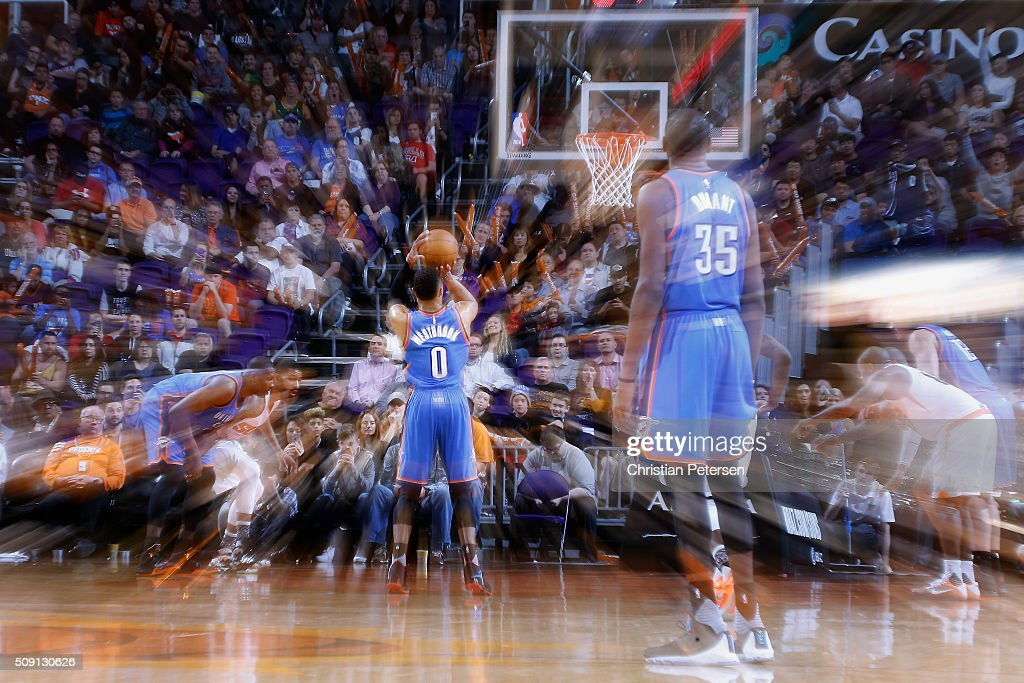 Russell Westbrook of the Oklahoma City Thunder shoots a free throw shot against the Phoenix Suns during the second half of the NBA game at Talking...