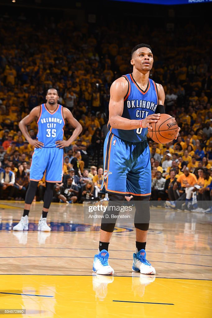 <a gi-track='captionPersonalityLinkClicked' href=/galleries/search?phrase=Russell+Westbrook&family=editorial&specificpeople=4044231 ng-click='$event.stopPropagation()'>Russell Westbrook</a> #0 of the Oklahoma City Thunder shoots a free throw against the Golden State Warriors in Game Five of the Western Conference Finals during the 2016 NBA Playoffs on May 26, 2016 at ORACLE Arena in Oakland, California.