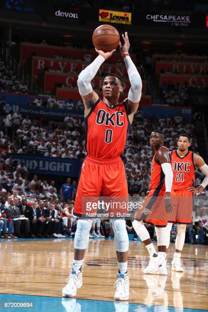 Russell Westbrook of the Oklahoma City Thunder shoots a free throw against the Houston Rockets during Game Four of the Western Conference...