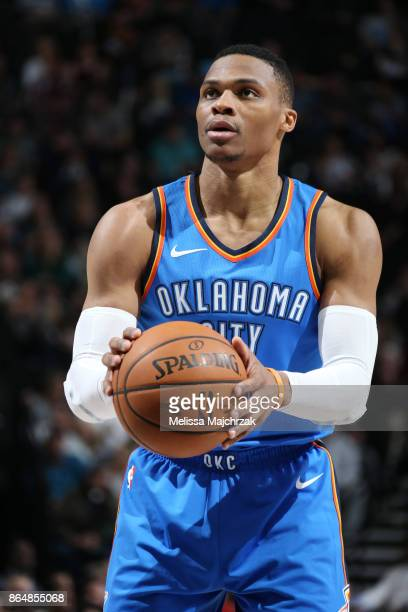 Russell Westbrook of the Oklahoma City Thunder shoots a free throw against the Utah Jazz during the game on October 21 2017 at vivintSmartHome Arena...