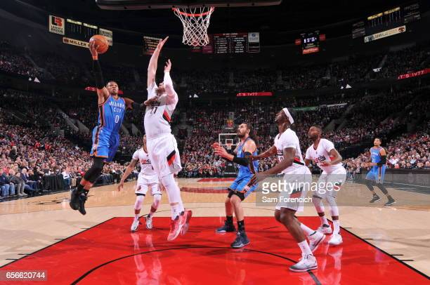 Russell Westbrook of the Oklahoma City Thunder shoots a lay up during the game against the Portland Trail Blazers on March 2 2017 at the Moda Center...