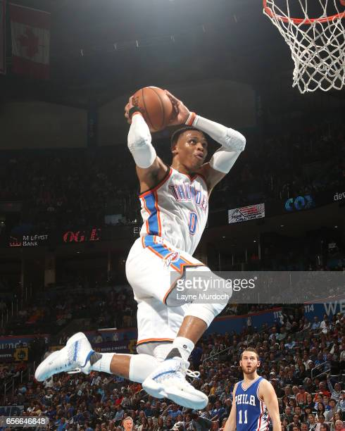 Russell Westbrook of the Oklahoma City Thunder shoots a lay up en route to the first ever perfect triple double in NBA history against the...
