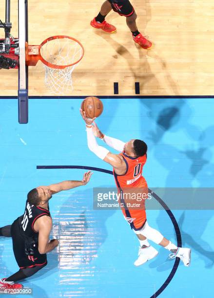 Russell Westbrook of the Oklahoma City Thunder shoots a lay up against the Houston Rockets during Game Four of the Western Conference Quarterfinals...