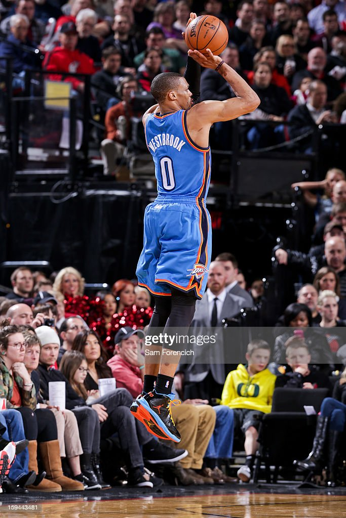 Russell Westbrook #0 of the Oklahoma City Thunder shoots a three-pointer against the Portland Trail Blazers on January 13, 2013 at the Rose Garden Arena in Portland, Oregon.