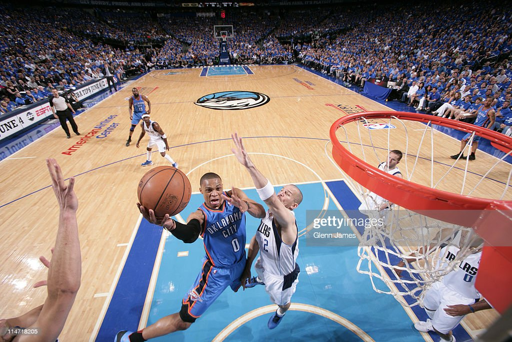 Russell Westbrook #0 of the Oklahoma City Thunder shoots against Jason Kidd #2 the Dallas Mavericks during Game Five of the Western Conference Finals in the 2011 NBA Playoffs on May 25, 2011 at the American Airlines Center in Dallas, Texas.