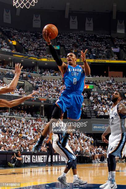Russell Westbrook of the Oklahoma City Thunder shoots against OJ Mayo of the Memphis Grizzlies during Game Six of the Western Conference Semifinals...