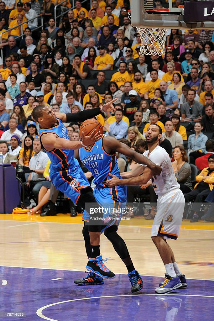 <a gi-track='captionPersonalityLinkClicked' href=/galleries/search?phrase=Russell+Westbrook&family=editorial&specificpeople=4044231 ng-click='$event.stopPropagation()'>Russell Westbrook</a> #0 of the Oklahoma City Thunder shoots against the Los Angeles Lakers at STAPLES Center on March 9, 2014 in Los Angeles, California.