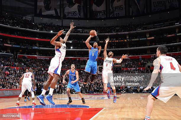 Russell Westbrook of the Oklahoma City Thunder shoots against the Los Angeles Clippers on December 21 2015 at STAPLES Center in Los Angeles...