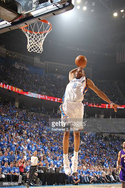 Russell Westbrook of the Oklahoma City Thunder shoots against the Los Angeles Lakers in Game Three of the Western Conference Quarterfinals during the...
