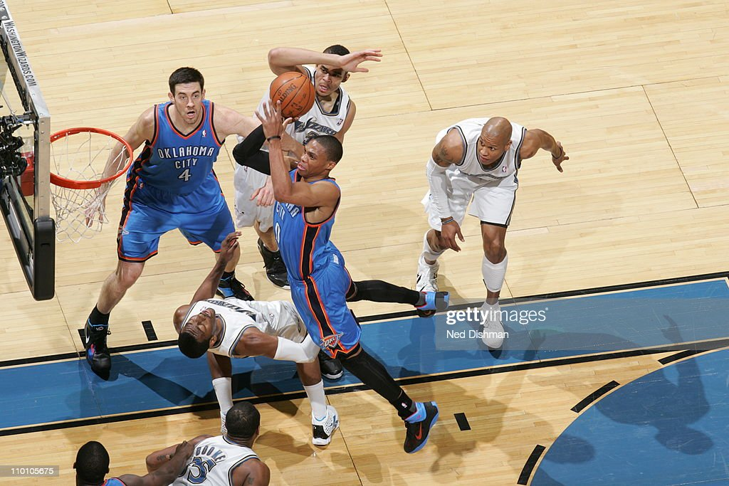<a gi-track='captionPersonalityLinkClicked' href=/galleries/search?phrase=Russell+Westbrook&family=editorial&specificpeople=4044231 ng-click='$event.stopPropagation()'>Russell Westbrook</a> #0 of the Oklahoma City Thunder shoots against the Washington Wizards on March 14, 2011 at the Verizon Center in Washington, DC.