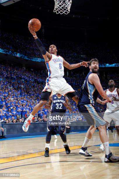 Russell Westbrook of the Oklahoma City Thunder shoots against the Memphis Grizzlies in Game Seven of the Western Conference Semifinals during the...