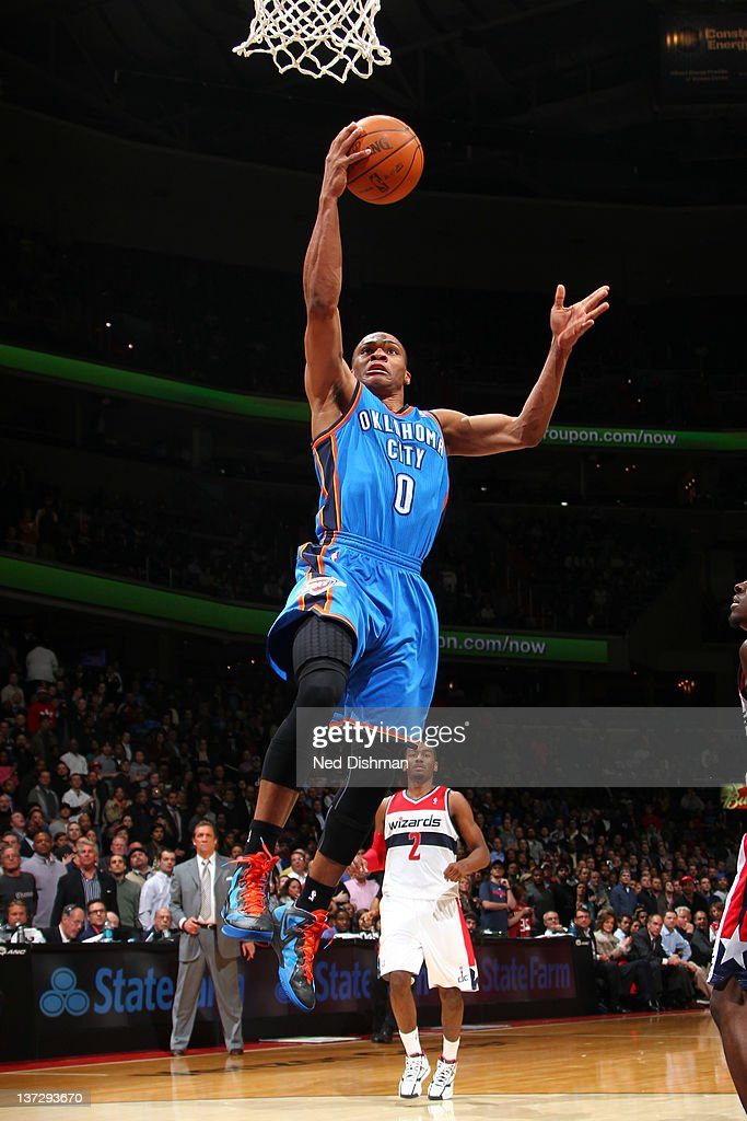 <a gi-track='captionPersonalityLinkClicked' href=/galleries/search?phrase=Russell+Westbrook&family=editorial&specificpeople=4044231 ng-click='$event.stopPropagation()'>Russell Westbrook</a> #0 of the Oklahoma City Thunder shoots against the Washington Wizards during the game at the Verizon Center on January 18, 2012 in Washington, DC.