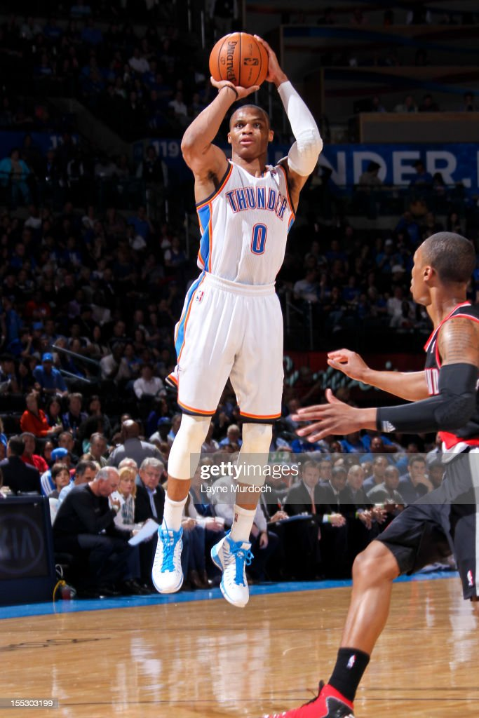 <a gi-track='captionPersonalityLinkClicked' href=/galleries/search?phrase=Russell+Westbrook&family=editorial&specificpeople=4044231 ng-click='$event.stopPropagation()'>Russell Westbrook</a> #0 of the Oklahoma City Thunder shoots against the Portland Trail Blazers on November 2, 2012 at the Chesapeake Energy Arena in Oklahoma City, Oklahoma.