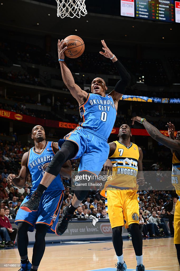 <a gi-track='captionPersonalityLinkClicked' href=/galleries/search?phrase=Russell+Westbrook&family=editorial&specificpeople=4044231 ng-click='$event.stopPropagation()'>Russell Westbrook</a> #0 of the Oklahoma City Thunder shoots against the Denver Nuggets on December 17, 2013 at the Pepsi Center in Denver, Colorado.