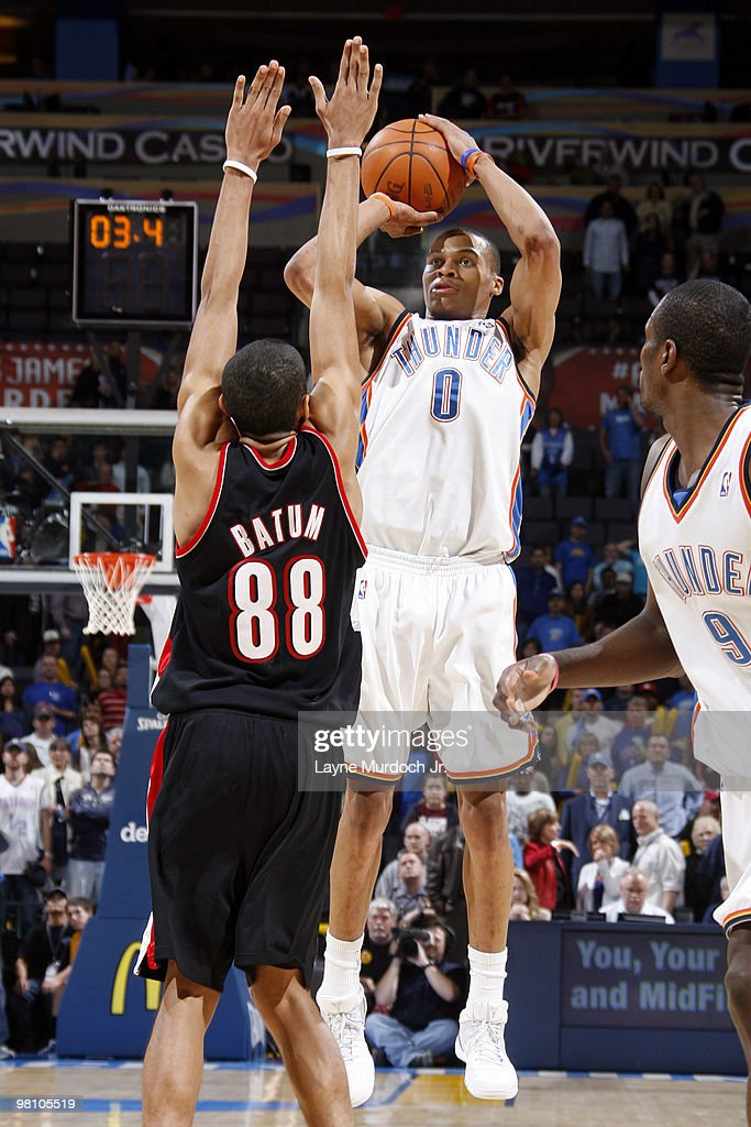 Russell Westbrook #0 of the Oklahoma City Thunder shoots over Nicolas Batum #88 of the Portland Trail Blazers on March 28, 2010 at the Ford Center in Oklahoma City, Oklahoma.
