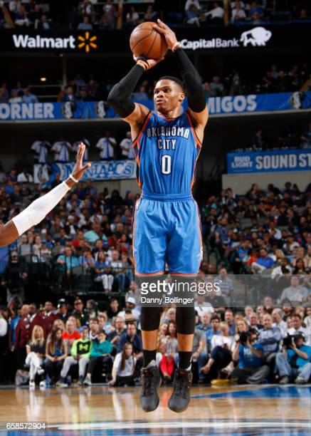 Russell Westbrook of the Oklahoma City Thunder shoots the ball during a game against the Dallas Mavericks on March 27 2017 at American Airlines...