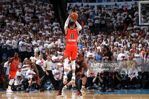 Russell Westbrook of the Oklahoma City Thunder shoots the ball during the game against the Houston Rockets in Game Four during the Western Conference...