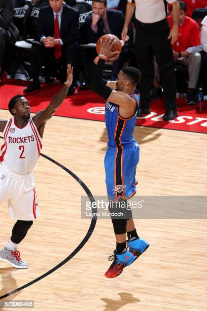 Russell Westbrook of the Oklahoma City Thunder shoots the ball during the game against the Houston Rockets in Game Five of the Western Conference...
