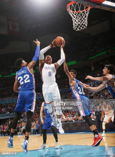 Russell Westbrook of the Oklahoma City Thunder shoots the ball en route to the first ever perfect triple double in NBA history against the...
