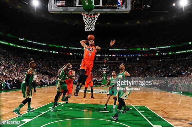 Russell Westbrook of the Oklahoma City Thunder shoots the ball against the Boston Celtics on March 16 2016 at the TD Garden in Boston Massachusetts...