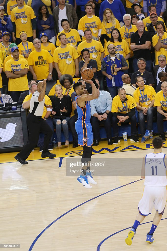 <a gi-track='captionPersonalityLinkClicked' href=/galleries/search?phrase=Russell+Westbrook&family=editorial&specificpeople=4044231 ng-click='$event.stopPropagation()'>Russell Westbrook</a> #0 of the Oklahoma City Thunder shoots the ball against the Golden State Warriors in Game Five of the Western Conference Finals during the 2016 NBA Playoffs on May 26, 2016 at ORACLE Arena in Oakland, California.