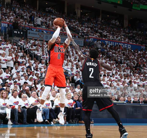 Russell Westbrook of the Oklahoma City Thunder shoots the ball against the Houston Rockets during Game Four of the Western Conference Quarterfinals...