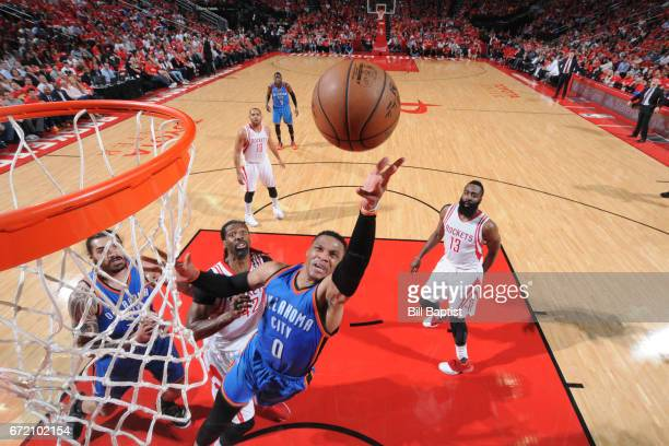 Russell Westbrook of the Oklahoma City Thunder shoots the ball against the Houston Rockets during Game Two of the Eastern Conference Quarterfinals of...