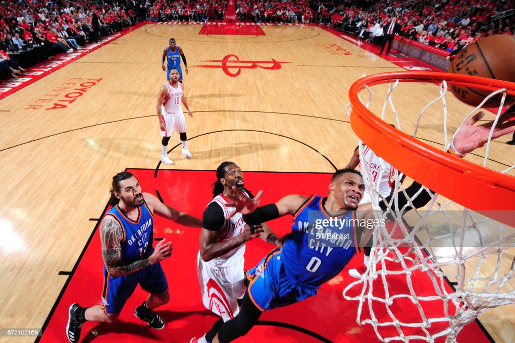 Russell Westbrook #0 of the Oklahoma City Thunder shoots the ball against the Houston Rockets during Game Two of the Eastern Conference Quarterfinals of the 2017 NBA Playoffs on April 19, 2017 at the Toyota Center in Houston, Texas.
