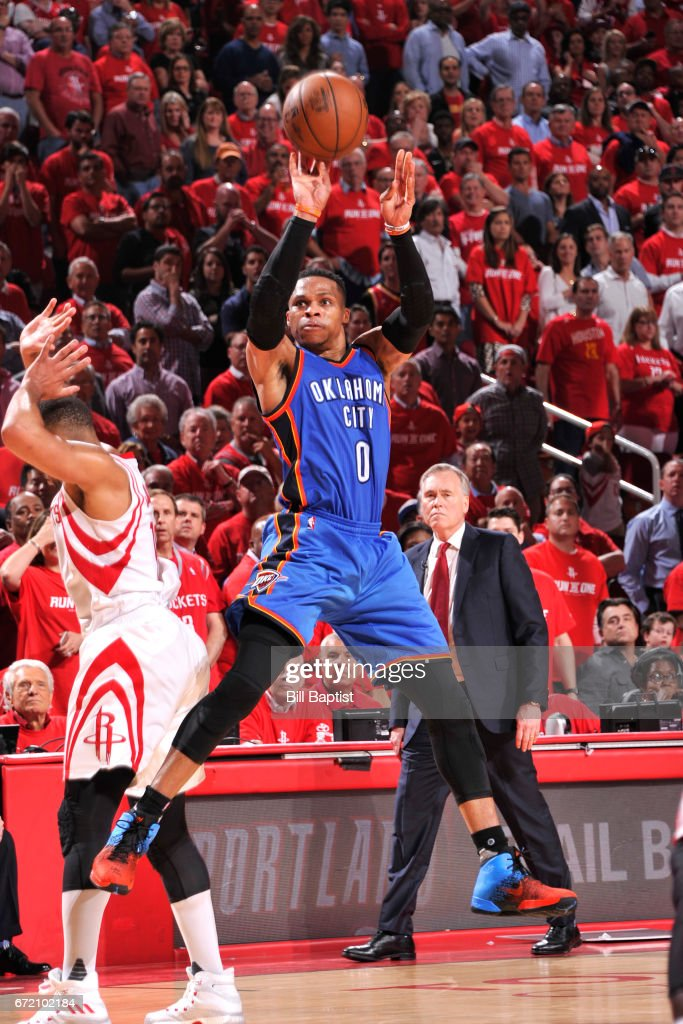Russell Westbrook #0 of the Oklahoma City Thunder shoots the ball against the Houston Rockets during Game Two of the Western Conference Quarterfinals of the 2017 NBA Playoffs on April 19, 2017 at the Toyota Center in Houston, Texas.