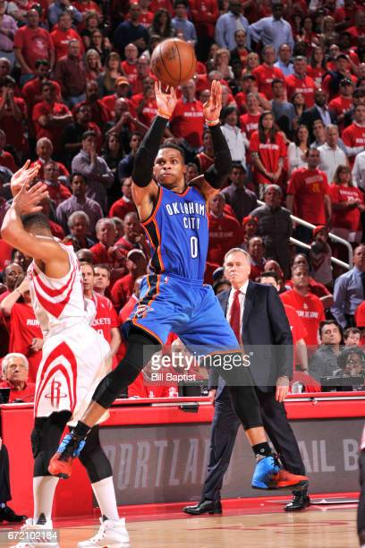Russell Westbrook of the Oklahoma City Thunder shoots the ball against the Houston Rockets during Game Two of the Western Conference Quarterfinals of...