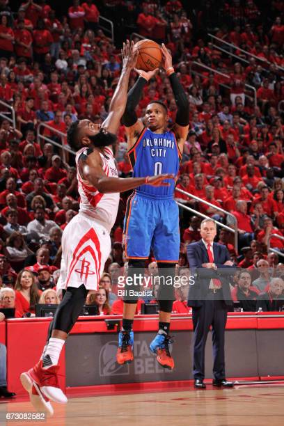 Russell Westbrook of the Oklahoma City Thunder shoots the ball against the Houston Rockets in Game Five of the Western Conference Quarterfinals of...