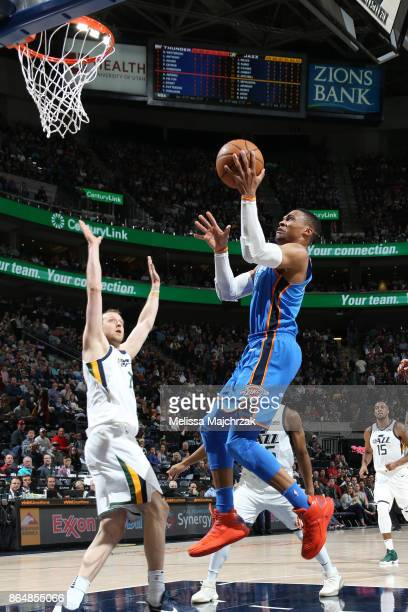Russell Westbrook of the Oklahoma City Thunder shoots the ball against the Utah Jazz during the game on October 21 2017 at vivintSmartHome Arena in...