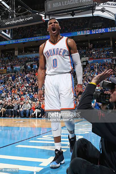 Russell Westbrook of the Oklahoma City Thunder shows emotion during the game against the Los Angeles Clippers on March 9 2016 at Chesapeake Energy...