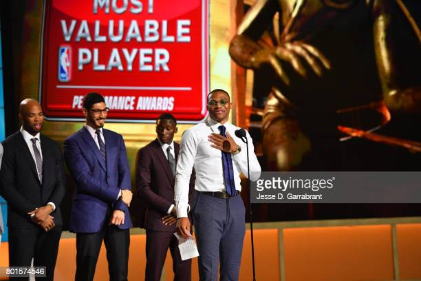 Russell Westbrook of the Oklahoma City Thunder speaks after winning the Most Valuable Player of the Year award during the 2017 NBA Awards Show on...
