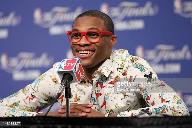 Russell Westbrook of the Oklahoma City Thunder speaks during a press conference after winning Game One of the 2012 NBA Finals between the Miami Heat...