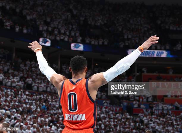 Russell Westbrook of the Oklahoma City Thunder stands on the court before Game Four of the Western Conference Quarterfinals of the 2017 NBA Playoffs...