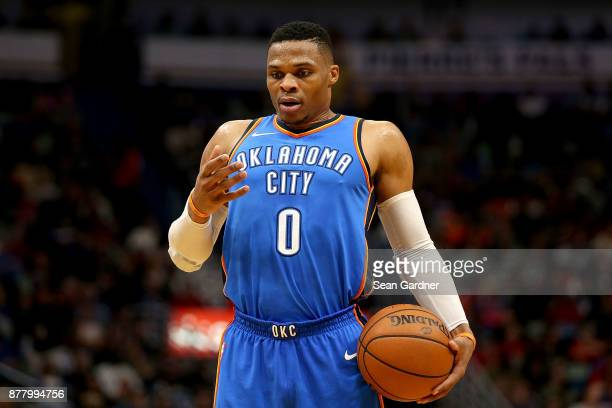 Russell Westbrook of the Oklahoma City Thunder takes a deep breath before shooting a free throw during a NBA game against the New Orleans Pelicans at...