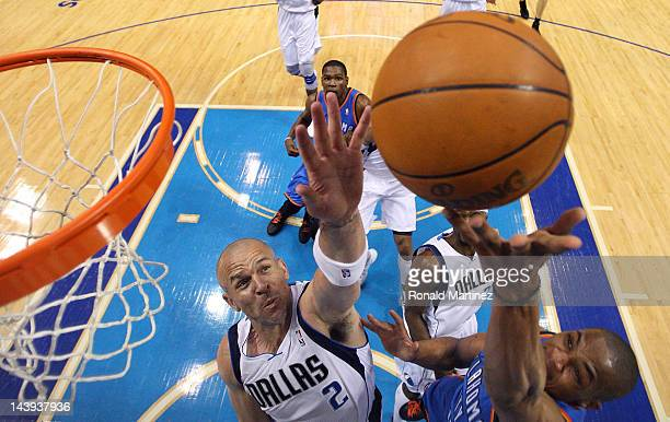 Russell Westbrook of the Oklahoma City Thunder takes a shot against Jason Kidd of the Dallas Mavericks during Game Four of the Western Conference...