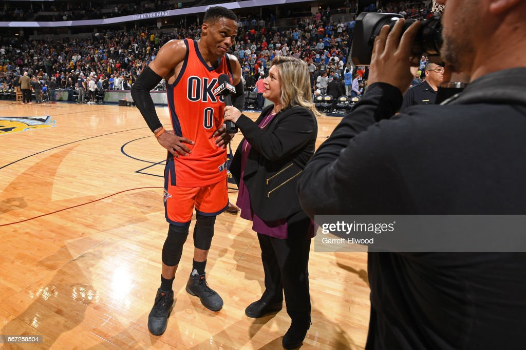 Russell Westbrook #0 of the Oklahoma City Thunder talks to ESPN reporter, Ramona Shelburne after hitting the game winning shot and recording his record breaking 42nd triple-double of the year after the game against the Denver Nuggets on April 9, 2017 at the Pepsi Center in Denver, Colorado.
