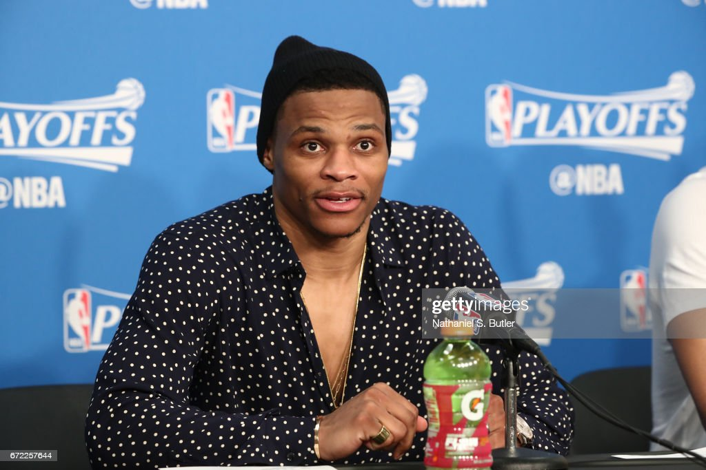 Russell Westbrook #0 of the Oklahoma City Thunder talks to the media during a press conference after Game Three of the Western Conference Quarterfinals against the Houston Rockets during the 2017 NBA Playoffs on April 21, 2017 at Chesapeake Energy Arena in Oklahoma City, Oklahoma.