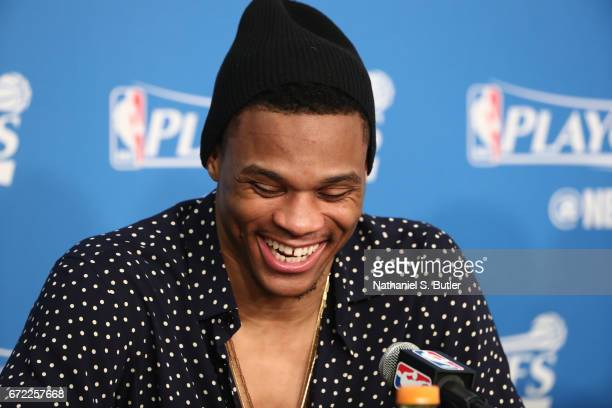 Russell Westbrook of the Oklahoma City Thunder talks to the media during a press conference after Game Three of the Western Conference Quarterfinals...