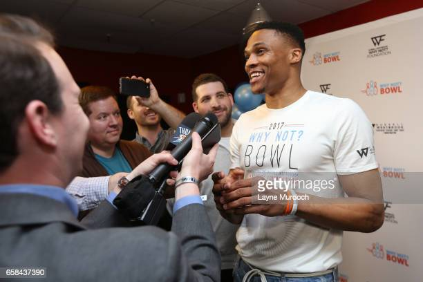 Russell Westbrook of the Oklahoma City Thunder talks to the media during his 7th annual Why Not Foundation bowling event on March 24 2017 at the AMF...