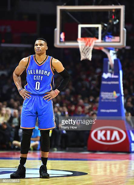 Russell Westbrook of the Oklahoma City Thunder waits for play during a 10099 win over the Los Angeles Clippers at Staples Center on December 21 2015...